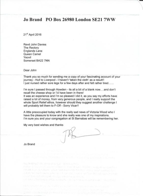 A letter from Jo Brand