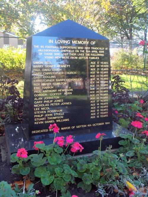 Waterloo: Hillsborough memorial outside Crosby Library
